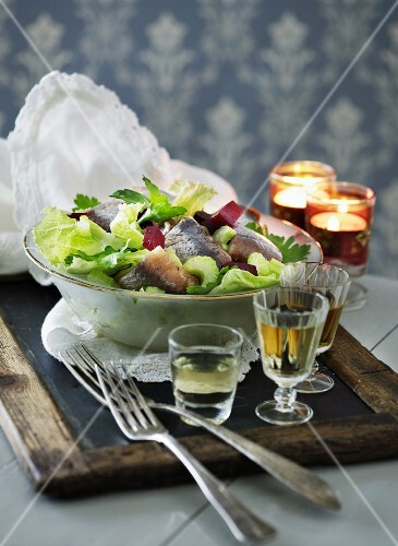 Salad with soused herring, beetroot and celery (Scandinavia)