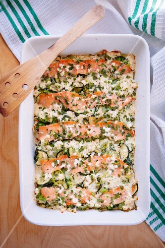 Courgette bake with salmon and broccoli