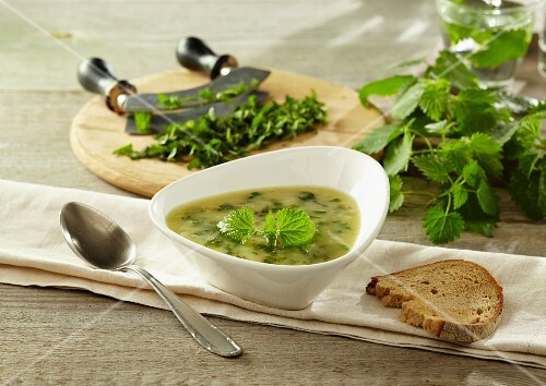 Potato soup with stinging nettles