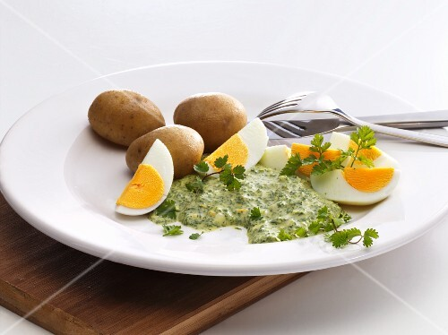 Frankfurt green sauce with eggs and potatoes