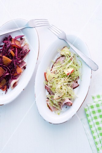 White cabbage salad and red cabbage salad