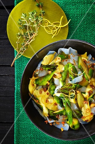 Pasta with a lemon and asparagus ragout and buckwheat and nut crunchies