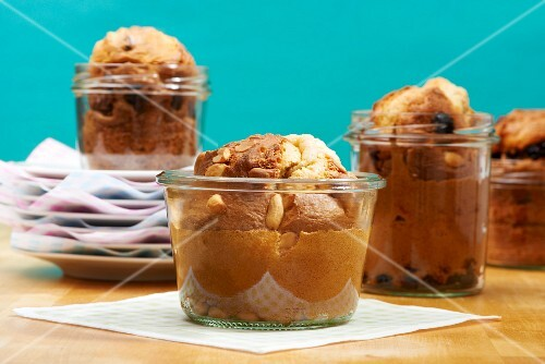Large peanut muffins in glass jars