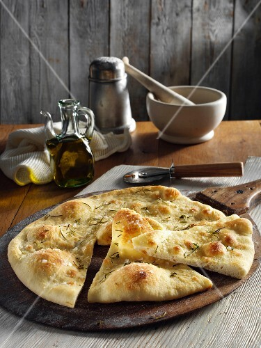 Focaccia with salt and rosemary