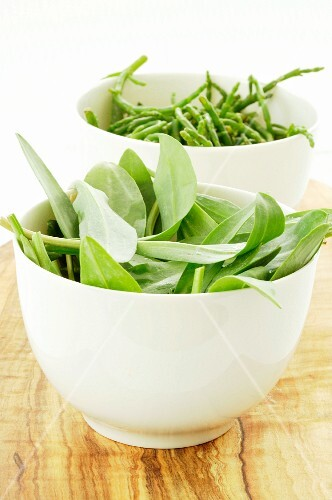Bowls of wild garlic and glasswort
