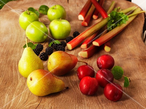 An arrangement of organic fruit