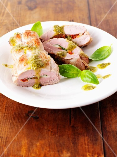 Stuffed pork fillet with basil, tomatoes, mozzarella and pesto