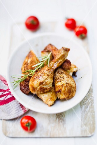Grilled chicken legs with rosemary