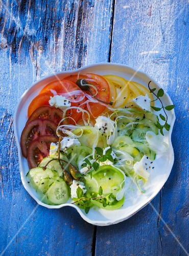 A plate of salad featuring various different coloured tomatoes, cucumber and sheep's cheese