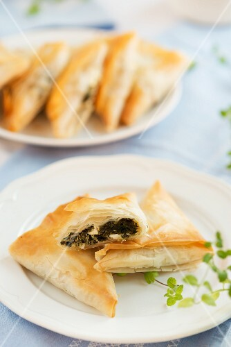 Puff pastry pockets filled with spinach