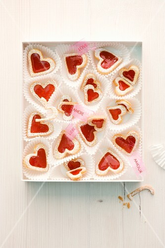 Heart-shaped shortbread biscuits