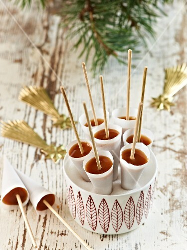 Cone-shaped knäck (traditional Swedish Christmas toffee)