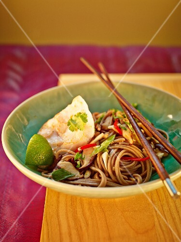Japanese buckwheat noodles with mushrooms, limes and monk fish fillet