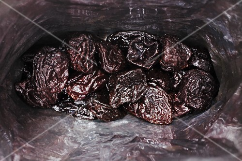 A bag of dried plums (seen from above)