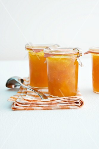 Two jars of apricot jam