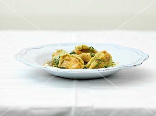 Agnolotti (stuffed pasta) filled with butternut squash and sage butter