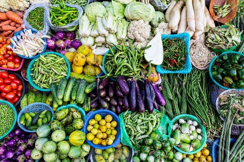 A vegetable stall at a street market in Myanmar