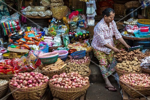 Onions and potatoes on a market stall in Myanmar