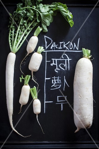 An arrangement of various types of radishes