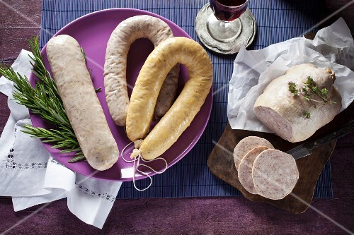 Various butifarras (pork sausages, Catalonia, Spain)