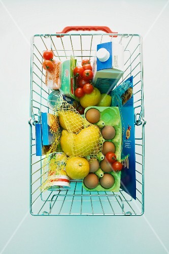 Various products in a shopping basket