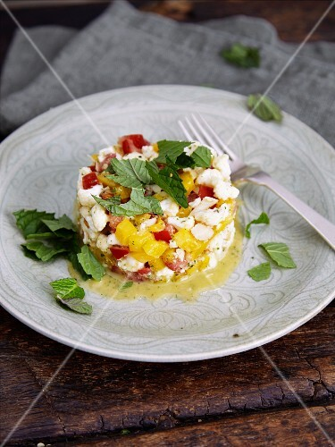 Cauliflower florets with colourful diced vegetables