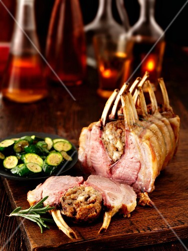 Stuffed saddle of lamb with courgette and wine