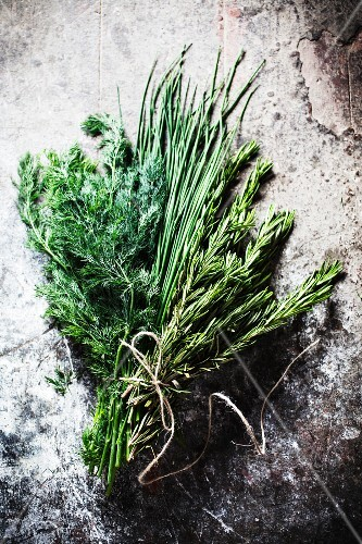 A bunch of fresh herbs - rosemary, chives and dill