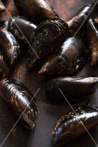 Fresh mussels on a wooden surface