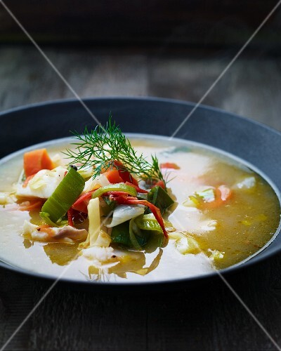 Colourful vegetable soup with dill