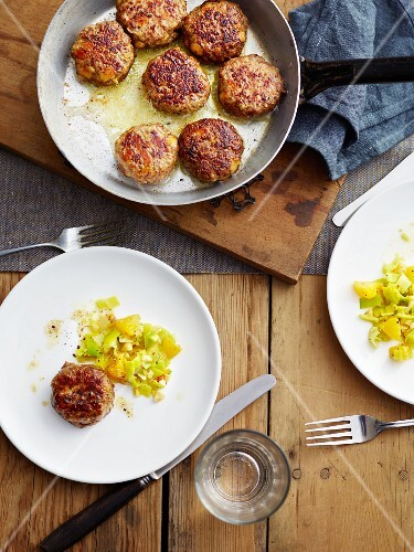 Leek and orange vegetables with venison meatballs