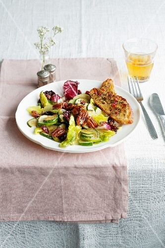 Warm courgette salad with pecan nuts
