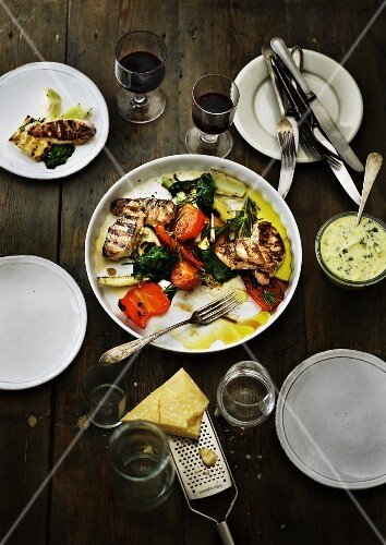 Grilled chicken breast with grilled Mediterranean vegetables