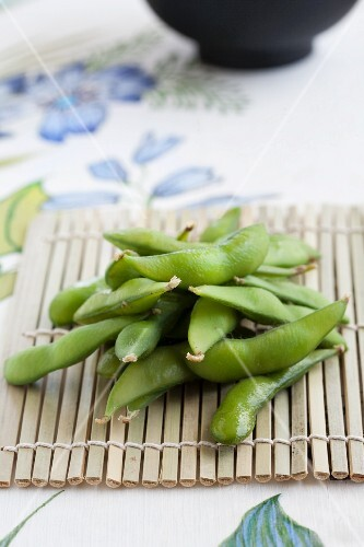 Cooked soya beans on a bamboo mat (Japan)