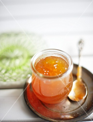 A jar of apple and elderflower jam