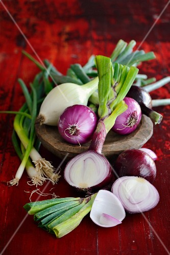 And arrangement of various different spring onions
