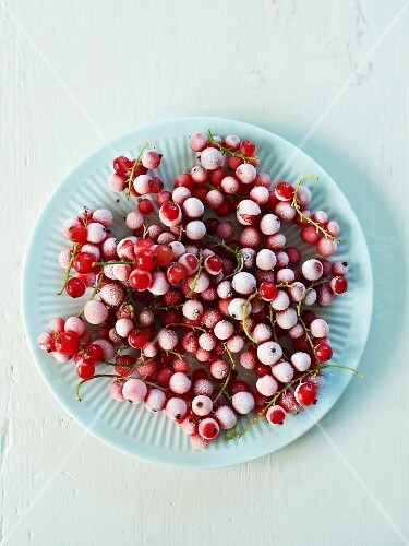 A plate of frozen redcurrants
