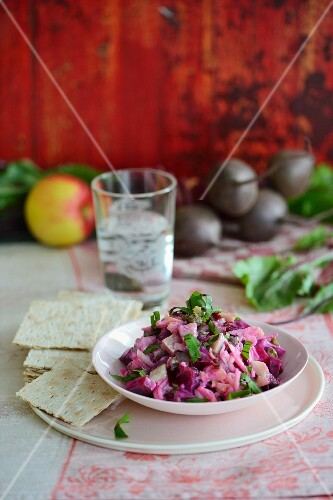 Beetroot salad with soused herring
