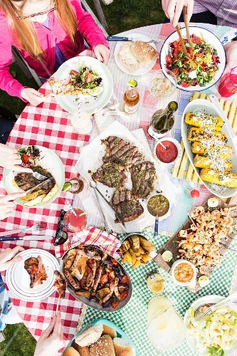 Various grilled dishes for a garden party