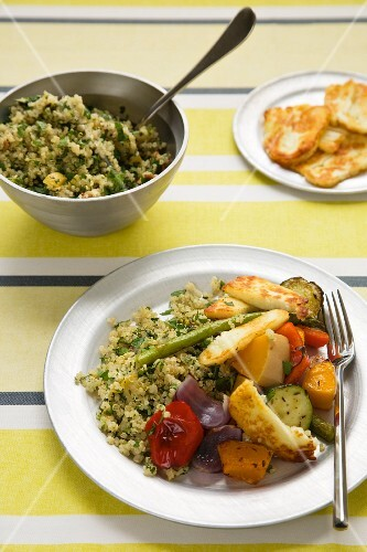 Roasted vegetables and halloumi cheese with herb quinoa