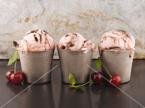 Chocolate and cherry ice cream sundaes
