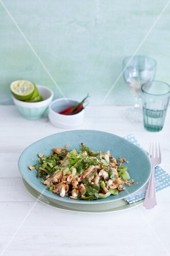 Chicken salad with cucumber, chilli and peanuts