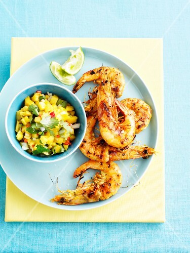 Grilled prawns with mango salsa