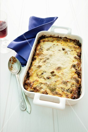 Moussaka in baking dish