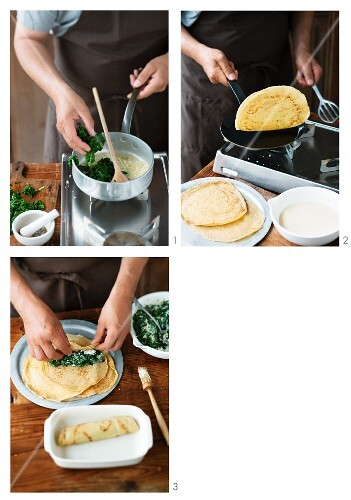 Pancake rolls with a spinach filling being made