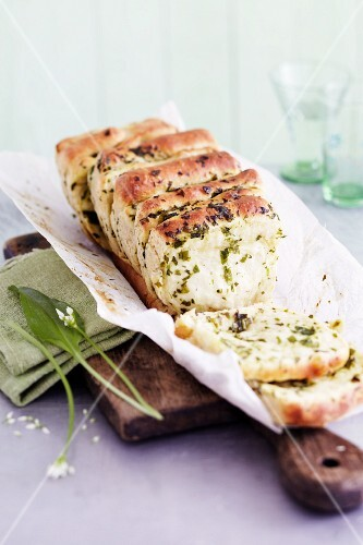 Homemade wild garlic fan bread