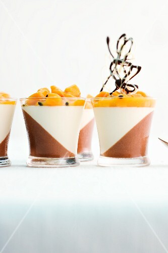White and dark chocolate cream with a mango and passion fruit ragout