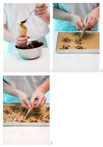 Chocolate decorations being made