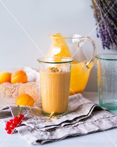 A smoothie made with apricots, lavender and almonds