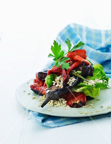 Grilled vegetable salad with barley